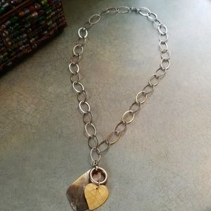"""925 BIG OVAL LINK 30"""" NECKLACE W/FAB ABALONE"""